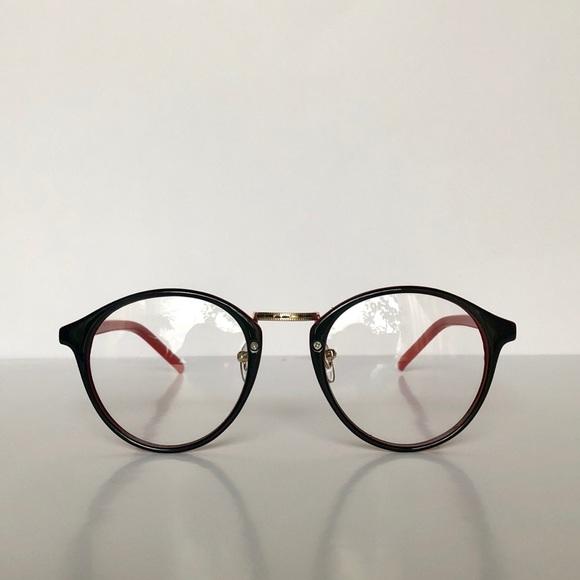 e104af104b Pantos Frame Black Glasses w  Red Temples